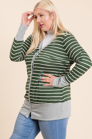 Headed Out Striped Cardigan - Olive - Curvy Exclusive