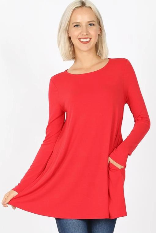 Long Sleeve Swing Tee with Pockets - Red Ruby