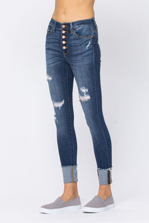 Judy Blue High Rise Rose Gold Button Fly Skinny