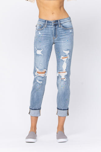Judy Blue Paint Splash Destroyed Boyfriend Jeans