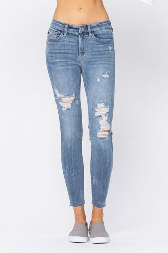 Judy Blue Destroyed Raw Hem Skinny Jeans