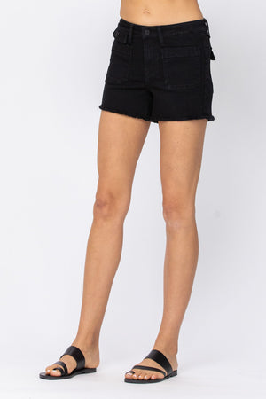 Judy Blue Cargo Patch Pocket Black Shorts