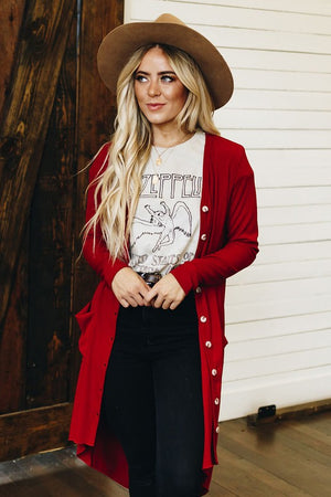 Alone With You Ribbed Hi-Lo Cardigan - Red