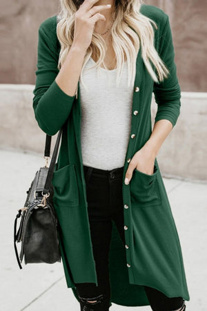 Alone With You Ribbed Hi-Lo Cardigan - Green