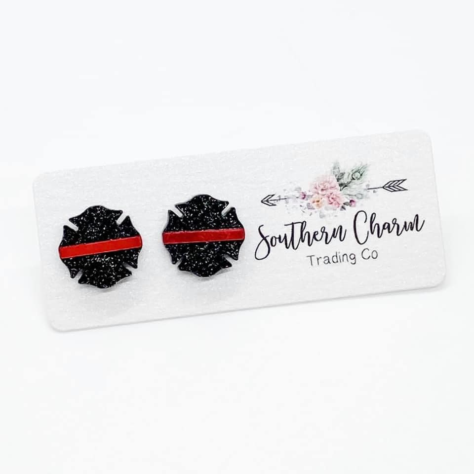 Red Line Badge Stud Earrings