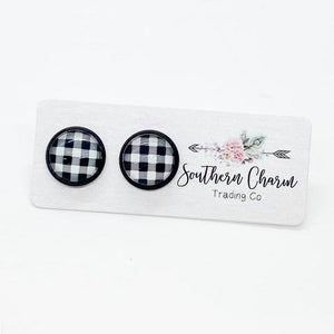 White & Black Buffalo Plaid Studs