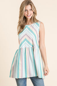 Wish You Would Striped Tank - Aqua
