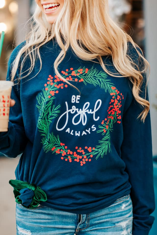 Joyful Always Wreath Graphic Tee