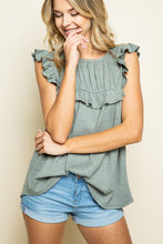 Load image into Gallery viewer, Sweet Sunday Waffle Knit Ruffle Tank - Sage
