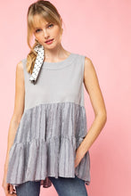 Load image into Gallery viewer, Stylish Start Mixed Materials Tank - Grey