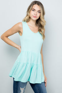 On My Mind Tiered Tank - Mint