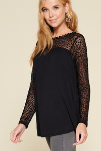 Just a Flirt Lace Detail Long Sleeve Top - Black