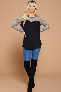 Just a Flirt Lace Detail Long Sleeve Top - Ivory