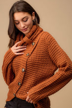 Load image into Gallery viewer, Use Your Heart Button Sweater - Honey Brown
