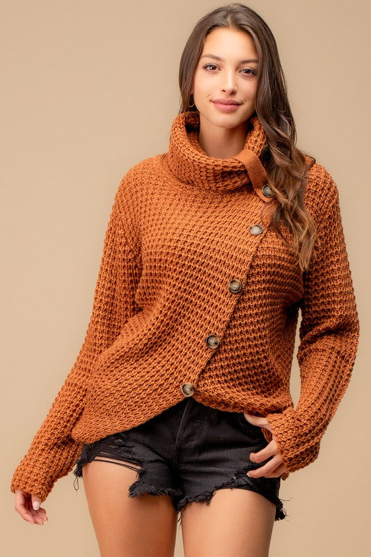 Use Your Heart Button Sweater - Honey Brown