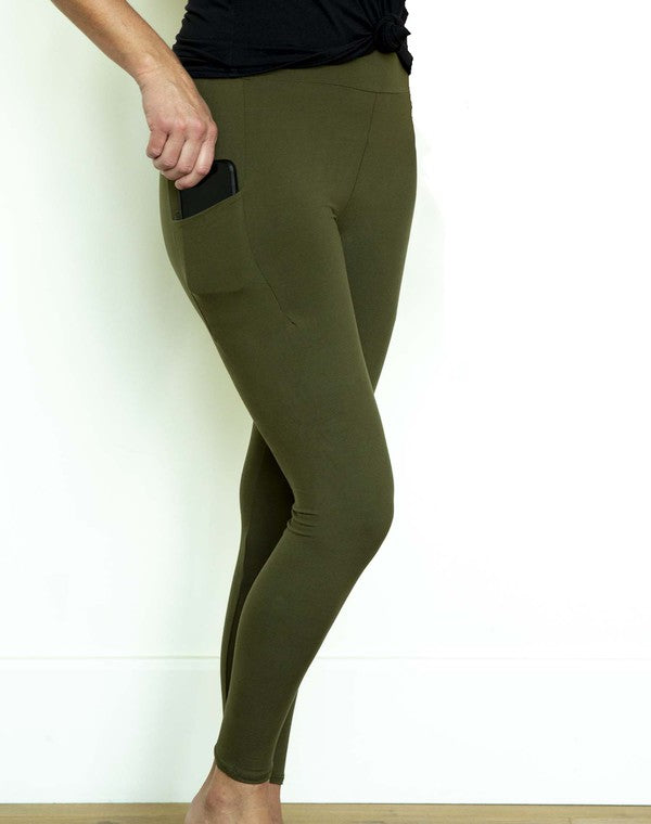 Perfect Fit Pocket Leggings - Olive