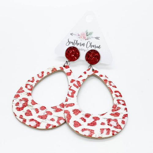 Red Sparkles & Red/Pink Leopard Hoops