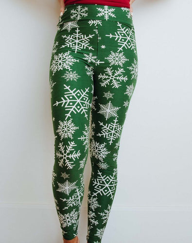 Perfect Fit Leggings - Green Snowflakes
