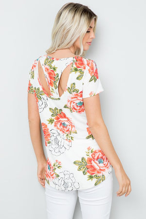 Party In the Back Tee - White Floral