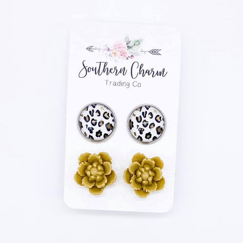 Gold/Leopard & Yellow Flower Duo Studs
