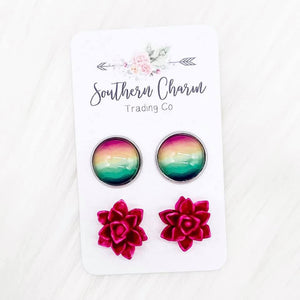 Serape Water Colors & Hot Pink Succulent Duo Studs