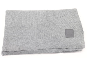 CC Solid Ribbed Scarf with Rubber Patch - Light Grey