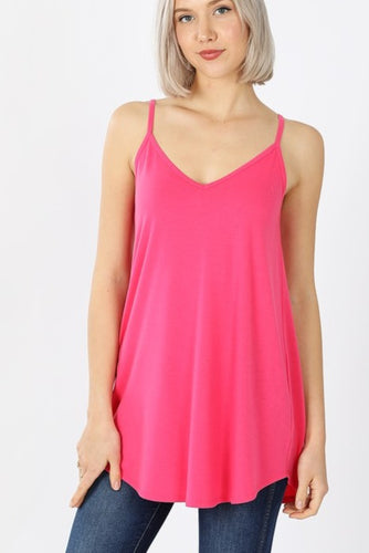 Reversible V-neck/Scoop-neck Tank - Fuchsia