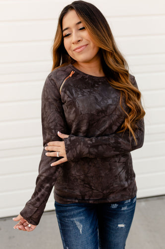 Ampersand Avenue Side Zip Pullover Charcoal Tie Dye