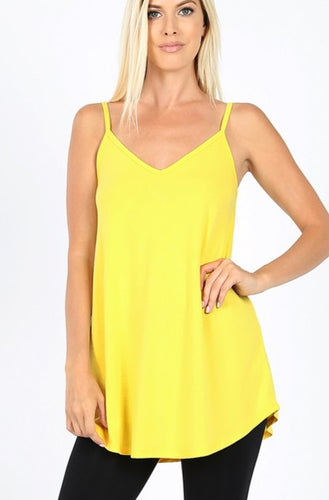 Reversible V-neck/Scoop-neck Tank - Yellow