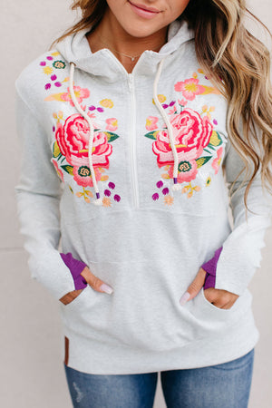 Ampersand Avenue Halfzip Sweatshirt Inner Beauty Embroidered