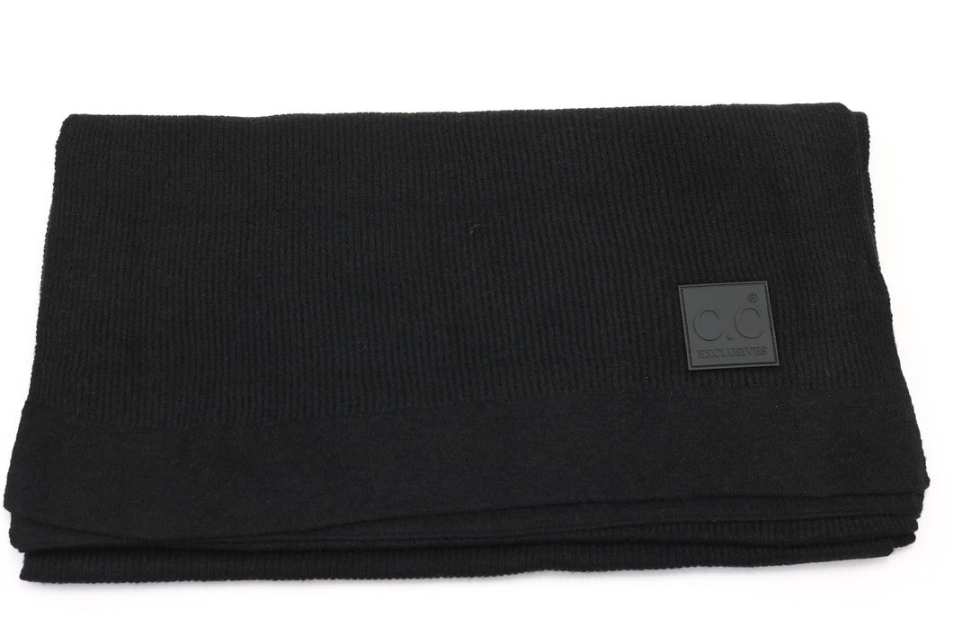 CC Solid Ribbed Scarf with Rubber Patch - Black