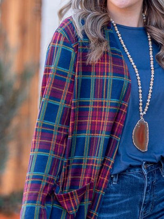 Together in Harmony Plaid Cardigan