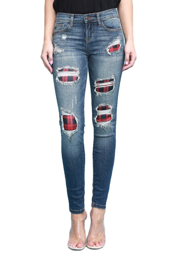 Judy Blue Buffalo Plaid Red Patch
