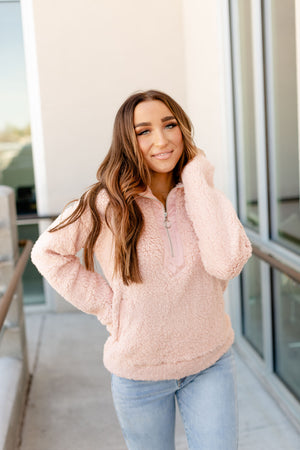 Ampersand Avenue - Sherpa Pullover - Dusty Pink