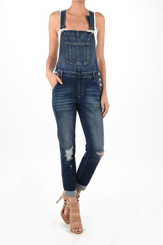 KanCan Always By My Side Denim Cuffed Overalls