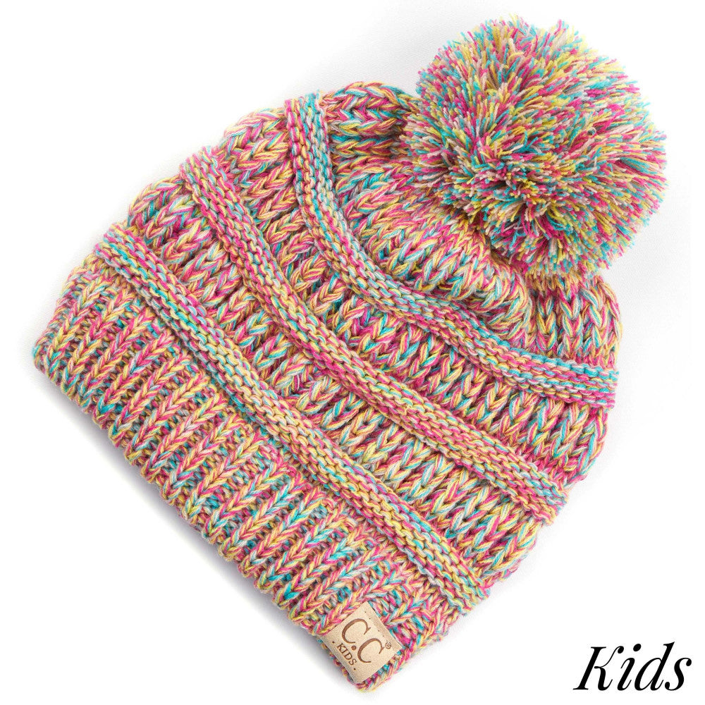CC Kids Four-Tone Pom Beanie - Pink Mix