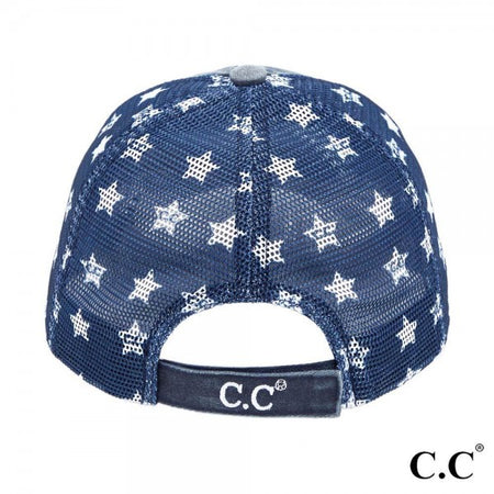 CC Brand - Distressed American Flag Star Ball Cap