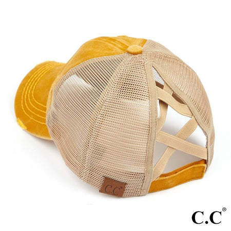 CC Brand - Washed Denim Criss Cross High Ponytail Ball Cap - Mustard