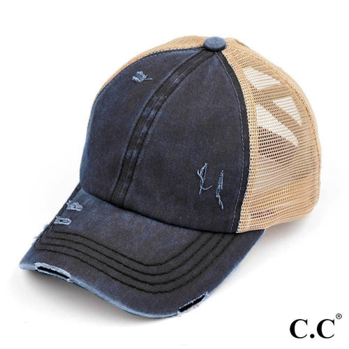 CC Brand - Washed Denim Criss Cross High Ponytail Ball Cap - Navy