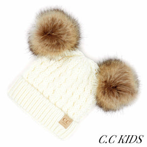 CC Kids Cable Knit Double Fur Pom Beanie -  Ivory