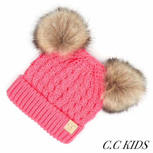 CC Kids Cable Knit Double Fur Pom Beanie -  New Candy Pink