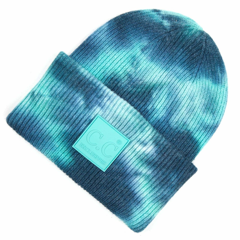 CC Tie Dye Beanie with Rubber Patch - Deep Teal/Sea Green