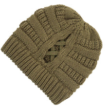Load image into Gallery viewer, CC Criss-Cross Knit Beanie - Olive