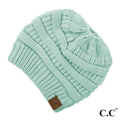CC Solid Classic Messy Bun Beanie - Cool Mint