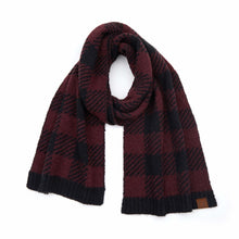Load image into Gallery viewer, CC Buffalo Print Jacquard Knit Scarf - Black/Berry