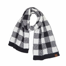 Load image into Gallery viewer, Buffalo Print Jacquard Knit Scarf - Black/White