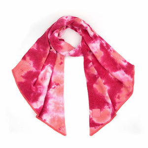 CC Tie Dye Scarf with Rubber Patch - Fuchsia/Pink