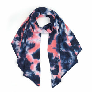 CC Tie Dye Scarf with Rubber Patch - Navy/Pink