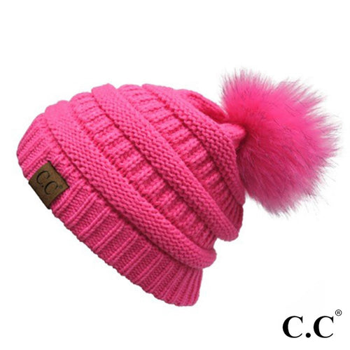 CC Classic Matching Fur Pom Beanie - New Candy Pink