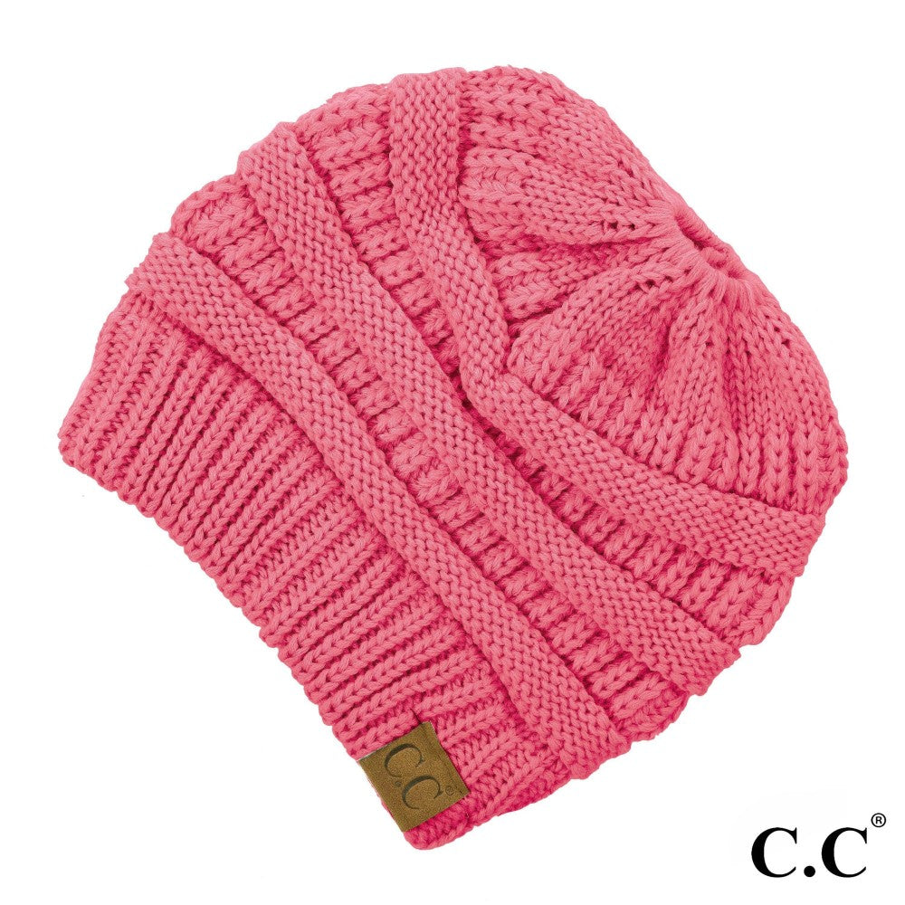 CC Solid Classic Messy Bun Beanie - New Candy Pink